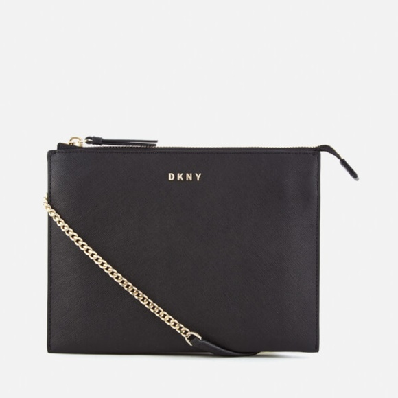 292f7fcfb22 DKNY Black Bryant Park Flat Top Zip Crossbody Bag